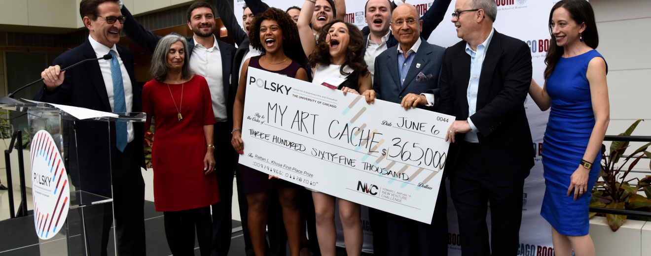 My Art Cache wins first place and largest-ever prize of $365,000 at the 2019 Edward L. Kaplan, '71, New Venture Challenge