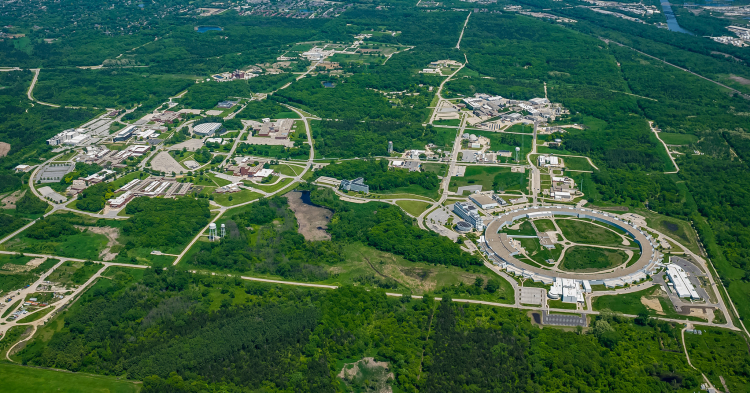 Managed by UChicago, Argonne includes three Department of Energy Office of Science user facilities: the Argonne Leadership Computing Facility, the Center for Nanoscale Materials, as well as the Advanced Photon Source. (Image courtesy of Argonne)